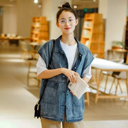 vintage vests women Australia - Johnature Women Denim Vests Coats Sleeveless Korean Style Button 2020 New Spring Pockets Vintage Patchwork Women Vests Coats