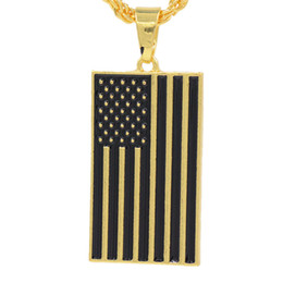 Link Two UK - 2018 Newest Mens necklace hip hop jewelry two Dripping oil chains Retro High grade American flag Pendant necklace alloy jewelry wholesale
