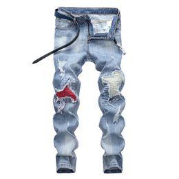 Wholesale clothing softener for sale – denim Ripped Fashion Jeans Clothing Designer Pants Light Blue Mens Slim Denim Straight Biker Hole Hip Hop Jeans Men