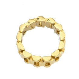 24k Gold Plated Rings Australia - luxury 24K gold plated classic men rings Stainless Steel Golden Link Ring Hip hop Men's Watchband Style President men ring watches band ring