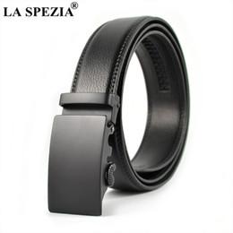 Men forMal suits belts online shopping - LA SPEZIA Men Accessories Belt Automatic Buckle Black Suit Belts No Holes Male Business Formal Real Leather Solid Man S Belts