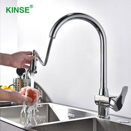 modern kitchen faucets Australia - KINSE High Quality Modern Shining Chrome Pull Down Faucet Brass Kitchen Faucet