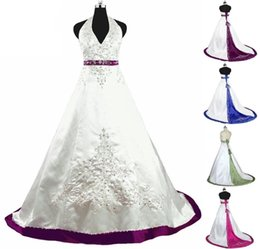 $enCountryForm.capitalKeyWord Australia - 2019 Modern Embroidery Beaded Satin Wedding Dresses Cheap Halter V-neck Corset Back Lace up Bridal Gowns Country Wedding Vestido De Novia