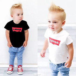 $enCountryForm.capitalKeyWord Australia - Casual Summer Toddler Kids Baby Boy White Black T-Shirt Tops Denim Pants Trousers Outfits Clothes Set 2Pcs