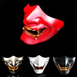 Wholesale man cosplay white online – ideas 2019 Grimace Devil Scary Half Face Mask Adults Halloween Fancy Party Cosplay