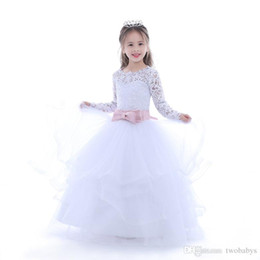 $enCountryForm.capitalKeyWord Australia - Hot Pretty Ivory White Lace Flower Girls Dresses 2017 Ball Gown Floor Length Girls First Communion Dress Party Dress
