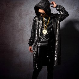 Long Jacket Costume Australia - Men Fashion Hip Hop Sequin Long Cloak Hooded Trench Coat Singer Stage Costumes Male Cardigan Jacket Windbreaker Overcoat