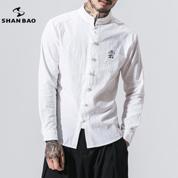 $enCountryForm.capitalKeyWord NZ - Brand Chinese Style Men's Casual Collar Long-sleeved Shirt 2019 Spring High-quality Solid Color Cotton Shirt White T2190605