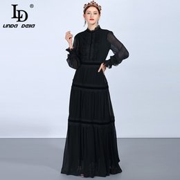 black linda NZ - Ld Linda Della Fashion Runway Maxi Dresses Women's Long Sleeve Lace Patchwork Ruffles Vintage Black Dress Elegant Party Dress J190621
