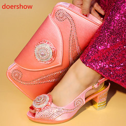 Peach Women Shoes NZ - doershow Nigerian Style Woman Shoes And Bag Set Latest peach Italian Shoes And Bag Set For Party Dress free shipping HYY1-21