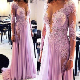 summer simple maxi dress sleeves Australia - Muslim Evening Dresses Long Sleeves Lace Beaded Chiffon V-Neck A-Line Illusion Prom Party Maxi Long Evening Gown