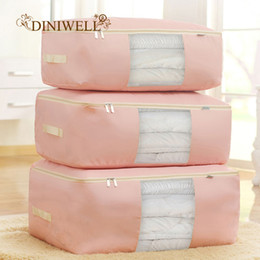 Beds Quilts Australia - DINIWELL New Waterproof Oxford Duvet Bedding Clothing Pillows Storage bag Pouch Zip Handles Quilt Closet Divider Organizer
