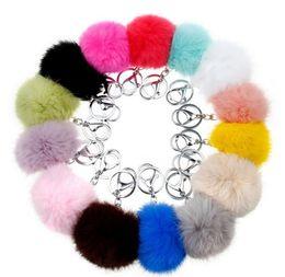 Fur handbags For girls online shopping - 8cm Pompom Key Chain Plush Toys for Children Soft Artificial Rabbit Fur Ball Keyring Girls Bag Hang Pendant Handbag decor colors KKA7682