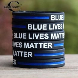 $enCountryForm.capitalKeyWord NZ - Blue Lives Matter Pattern Silicone Wristband Outdoor Sports Thin 1 Bracelet 1.3 cm 0.5 inch (Approx)