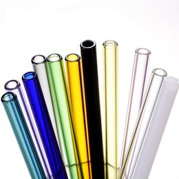 length drinking straw UK - 20 cm Colored Borosilicate Cocktail Glass Straws Length 20cm Strait 8mm Drinking Straw For Party