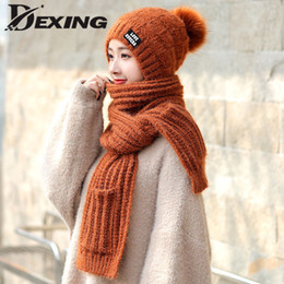 White hats for girls online shopping - 2019 Winter Hat and Scarf Set for Women Warm Thick Hat Scarf Glove Set Pompom Ball Knitted Beanie Girls Outdoor Ski Cap