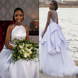 $enCountryForm.capitalKeyWord UK - Pure White Wedding Dresses 2019 African Modern Sheer Back Satin Tulle Fancy A Line Bridal Gowns Fashion Customize Plus Size