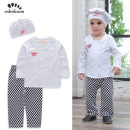 $enCountryForm.capitalKeyWord Australia - Baby Boys Sets Chef Play Suit Cotton White Shirt+plaid Pants+hat Long Sleeves Toddler Kids Clothes Outfit Kids Party Costume J190715