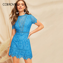 $enCountryForm.capitalKeyWord Australia - Colrovie Blue Solid Open Back Guipure Lace Boho Sexy Dress Women 2019 Summer Short Sleeve Button Back Beach Short Dress For Lady Y19073101