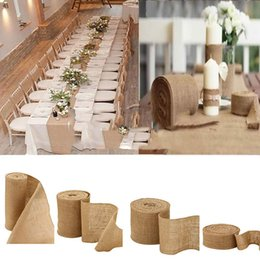 rolling chairs NZ - Eco-Friendly 10 meter X 30cm Natural Jute Hessian Burlap Ribbon Roll Burlap Table Runners Wedding Party Chair Bands Home Decorations