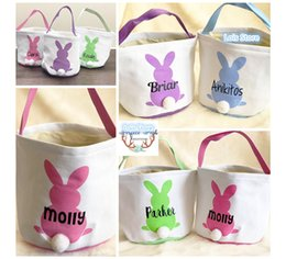$enCountryForm.capitalKeyWord Australia - 10pcs lot Easter Basket Canvas Bag Easter Tail Bucket Tote Handbag Basket For Eggs Candies Gifts Easter Party Festival Bags T8190629
