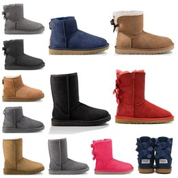 Wholesale Hot WGG fashion designer women ankle winter Australia boots chestnut black booties tall Bailey Bowknot womens work snow knee high fur boot