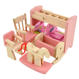 $enCountryForm.capitalKeyWord NZ - doll bunk bed Wooden Doll Bunk Bed Set Furniture Dollhouse Miniature for Kids Child Play Toy Educational Toy Wooden Toys Baby Birthday Gifts