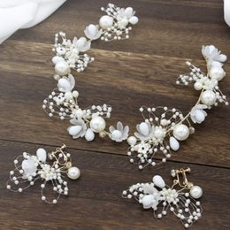 Discount hair accessories for elegant parties - Bridal White Big Pearls Flower Hairbands Elegant Headband Women Headwear Ear Hair for Girls Party Hair Accessory + Earri