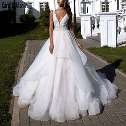 Sexy Lace Fall Wedding Dresses Australia - Elegant Deep V Neck Wedding Dresses 2019 Ruffle Skirt Sexy Backless Lace Appliques Fantasy Princess Bridal Dress