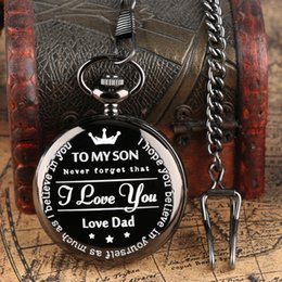 Necklaces Pendants Australia - Customized Pocket Watch TO MY SON I Love You Love Dad Forever Design Quartz Pocket Watch Pendant Clock Necklace Chain for Son