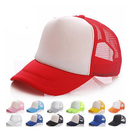 wholesale blank trucker cap Canada - 20 colors Kids Trucker Cap Adult Mesh Caps Blank Trucker Hats Snapback Hats Acept Custom Made Logo