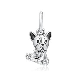 298f4d28fa5 New Authentic 925 Sterling Silver Charm Black Enamel French Bulldog Puppy  Pendant Bead Fit Pandora Bracelet Bangle Diy Jewelry