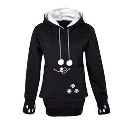 cartoon kangaroos NZ - Kangaroo Dog Hoodie Women Kawaii Lover Cats Embroidery Cartoon Hooded Hoodies Thumb Through Front Pocket Animal Ear Hoodie