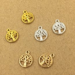 Traditional Hair Accessories Australia - 200pcs 12*10mm Gold Silver Hollow tree charms metal pendants Alloy DIY Jewelry Accessories Headwear Hair Jewelry Handicraft Material