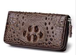 Free Christmas Mobile UK - Free shipping new 2019 classic crocodile pattern men's wallet double zipper clutch bag business casual boutique mobile phone bag 3323#