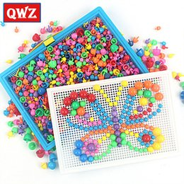 $enCountryForm.capitalKeyWord Australia - 296 592pcs Children Composite Intellectual Educational Mushroom Nail Kit For Kids Gifts Diy Mosaic Picture Puzzle Toys