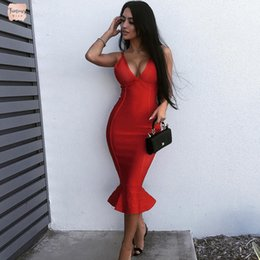 Wholesale sleeveless bodycon bandage trumpet dress for sale – plus size Newest Casual Dresses Summer Bandage Dress Women Celebrity Party Spaghetti Strap V Neck Sexy Club Night Out Mermaid Vestidos