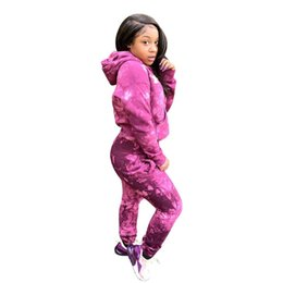 Camo trousers women online shopping - Embroidery Champions Letter Tracksuit Women Hoodie Pants Outfit Spring Hooded Pullover Trousers Sports Suit Purple Camo Joggers Set C3265
