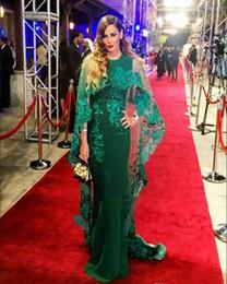 $enCountryForm.capitalKeyWord UK - Dubai Abaya Kaftan Evening Dress 2019 With Detachable Cape Middle East O-neck Appliques Prom Gowns Red Carpet Celebrity Formal Dress