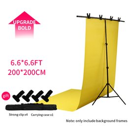 Backdrop Clamps Photography Australia - SH Photography PVC Backdrop Background Support Stand System Metal backgrounds for photo studio with 4 clamps 1 bag 2m X 2m Kit