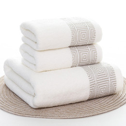 Wholesale Towels Set Striped Soft Cotton Bath Thick Shower Bathroom Home Spa Face Towel for Adults Toalla Serviette set Handtuch