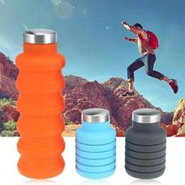 retractable water bottle Australia - 500ML Portable Silicone Water Bottle Retractable Folding Coffee Bottle Outdoor Travel Drinking Collapsible Sport Drink Kettle