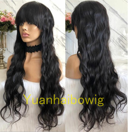 Root Color Wig Australia - Natural Color Glueless Front Closure Wig with Bang Peruvian Hair Ombre #1b 4 Dark Roots Glueless Full Lace Wig with Bang Free Shipping