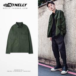 $enCountryForm.capitalKeyWord Australia - Japanese New Type of Shirt, Long Sleeve Korean Edition, Leisure and Loose Military Young Men's Shirt, Jun Green