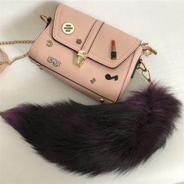$enCountryForm.capitalKeyWord NZ - Lilac - Real Genuine Fox Fur Tail Keychians Plush Pom Poms Cosplay Toy Keyrings Car KeyChain Bag Charm Tassels