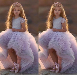 cheap hot pink t shirts Australia - Fashion flower girl dress jewel neck sleeveless hi-lo dresses tulle 2020 hot sale cheap colorful beautiful girl gowns