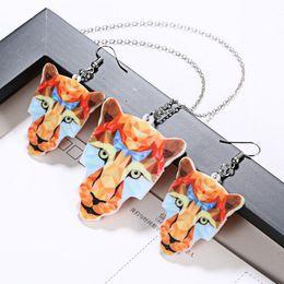 Fox Face Pendant Australia - Animal face necklace earring set acrylic tiger fox lion seahorse face charm necklace
