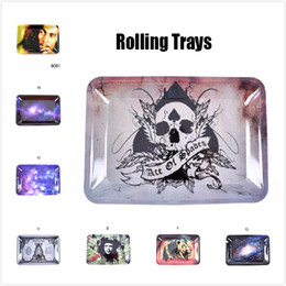 herb grinders wholesale bob marley NZ - Bob Marley Rolling Tray Metal Tobacco Rolling Tray Travel Size 18cm*12.5cm Handroller Roll Trays For Herb Grinders Smoking Pipes