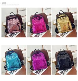 $enCountryForm.capitalKeyWord NZ - Luxury Fashion womens Sequin School Backpack Fashion Backpack Shining Sequin Design Teenagers School Bags Zipper Travel Casual Mid Backpacks