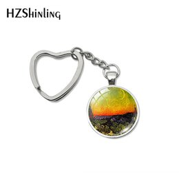 oil painting jewelry Australia - Vintage Van Gogh's Oil Paintings Cabochon Heart Keychain Starry Night Painting Jewelry Sunflower Bag Car Holder Accessories
